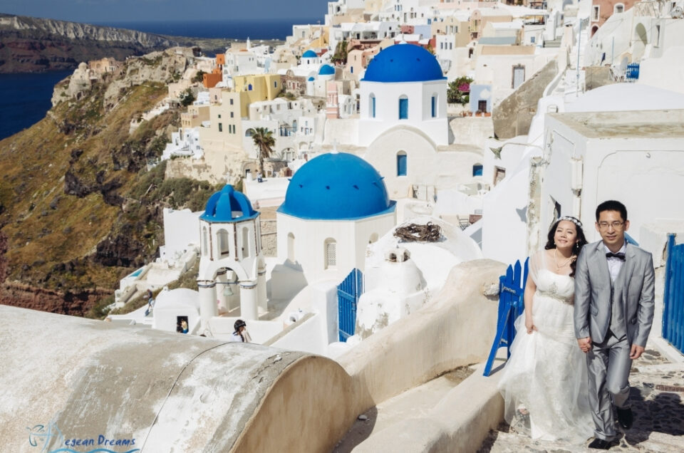 Jie & RK elopement style wedding and photography tour in Santorini
